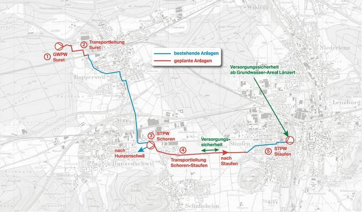 Das Versorgungskonzept basierend auf dem neuen Pumpwerk Länzert (l.). STPW heisst Stufenpumpwerk.Karte: Ingenieurbüro K. Lienhard AG, Buchs