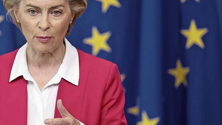 European Commission President Ursula von der Leyen gives a statement at the European Commission headquarters in Brussels, Wednesday, Sept. 23, 2020
