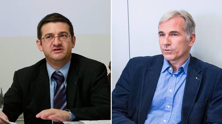 Der Basler SVP-Grossrat Patrick Hafner (l.) streitet sich mit Lorenz Nägelin, weil er seine Beiträge nicht bezahlen will.