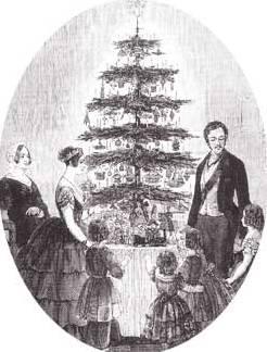 Abbildung aus The Illustrated Londons News (1848): Königin Victoria und Prinz Albert feiern Weihnachten mit ihren Kindern