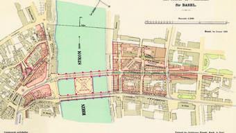 So sah der Plan von 1899 für das Rhein-Brücken-Project mit Markt- & Volkshalle aus.