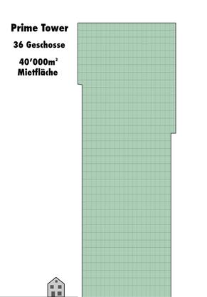 Grafik des Prime Towers. 27 davon stehen als Bürofläche leer in Zürich.