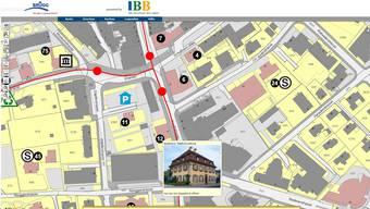 Der Online-Ortsplan bildet die öffentlichen Bauten ab: hier das Stadthaus.Screenshot/ZVG