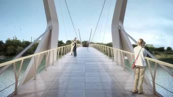 Der geplante Rheinsteg ist 200 Meter lang und verbindet die beiden Städte.
