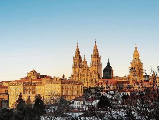 Das Ziel in Sicht: die Kathedrale von Santiago de Compostela.