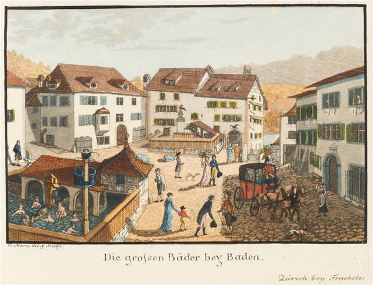 Der Kurplatz mit Verenabad (l., man beachte die «Dusche») und Freibad: So sah der Maler Hans Ulrich Kern die öffentlichen Bäder unter freiem Himmel um 1800. Links der Staadhof, in der Mitte das Badgasthaus Raben, rechts die «Blume».