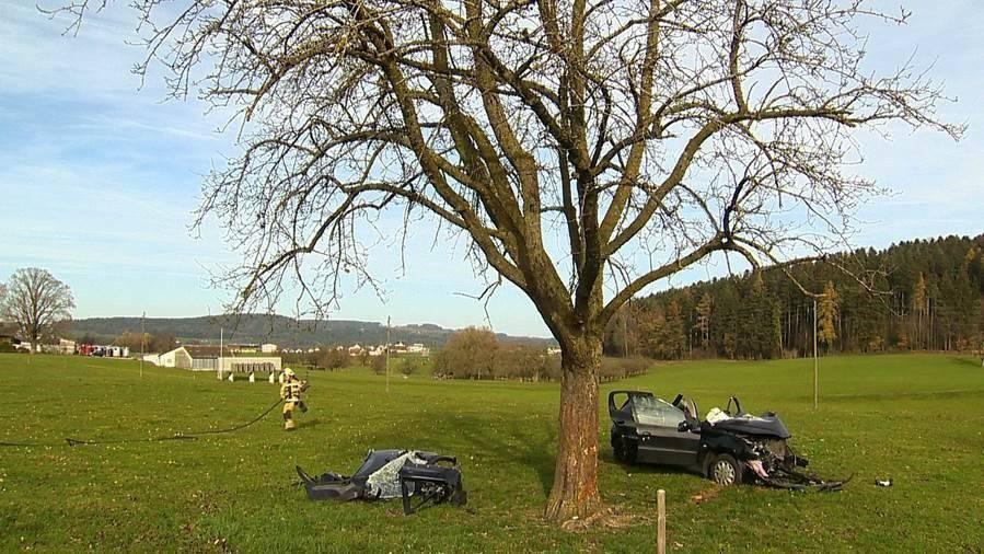 Weshalb die Frau mit einem Baum kollidierte, ist noch unklar. Bild: Beat Kälin, kameramann.ch