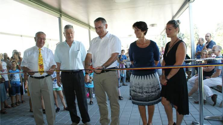 In Reinach hat Bildungsdirektor Alex Hürzeler das neue Schulhaus Pfrundmatt eingeweiht. Sibylle Haltiner