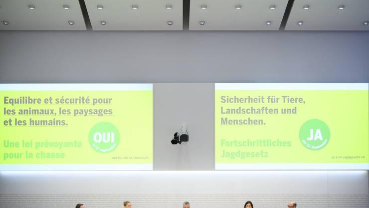 Die Jagdgesetz-Befürworter präsentierten am Donnerstag in Bern ihre Argumente.