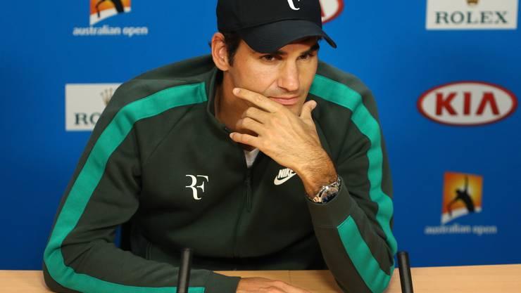 Roger Federer an der Pressekonferenz der Australian Open in Melbourne.