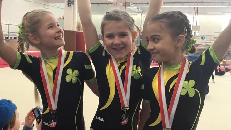 Aurora Battiato, Mira Stalder und Noelia Haider erturnten in der Kategorie P1 den starken 1. Rang.