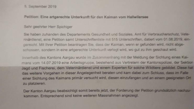 Dies ist das Antwortschreiben, welche Lukas Spichtig vom Kanton Aargau erhielt.