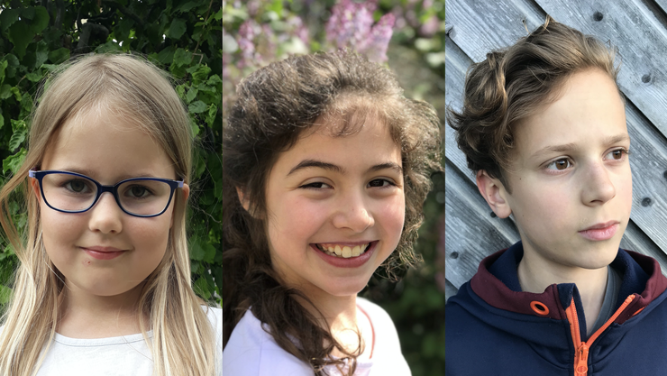 Die Gewinner des Kinderschreibwettbewerbs: Nora Piekenbrock aus Ennetbaden, Anya Stauffer aus Schöftland und Levi Baumann aus Holziken (v.l.)
