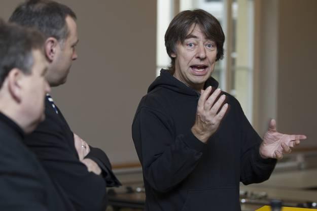 Danny Wehrmueller, Regisseur des Glaibasler Charivari, rechts, Walter F. Sturer, links, und Erik Julliard.
