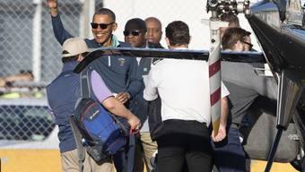 Ex-US-Präsident Barack Obama bereist derzeit erstmals Neuseeland. Den Aufenthalt hat er unter anderem dazu genutzt, mit dem früheren neuseeländischen Premierminister John Key eine Runde Golf zu spielen.