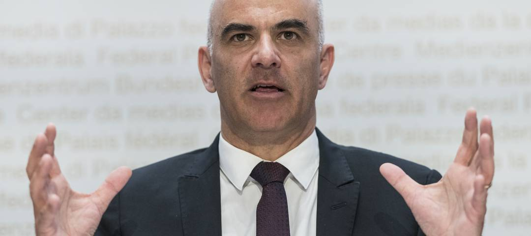 Bundesrat Alain Berset bei seiner Pressekonferenz zum Corona-Virus.