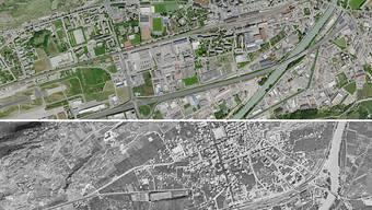 Auch die Stadt Sitten hat sich seit Ende des Zweiten Weltkriegs sichtbar entwickelt.