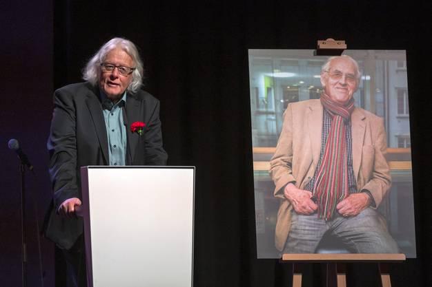 Peter Bodenmann an der Abschiedsfeier für Helmut Hubacher, dem ehemaligen Präsidenten und Nationalrat der SP, in Basel am Freitag, 25. September 2020. (Bild: Keystone)