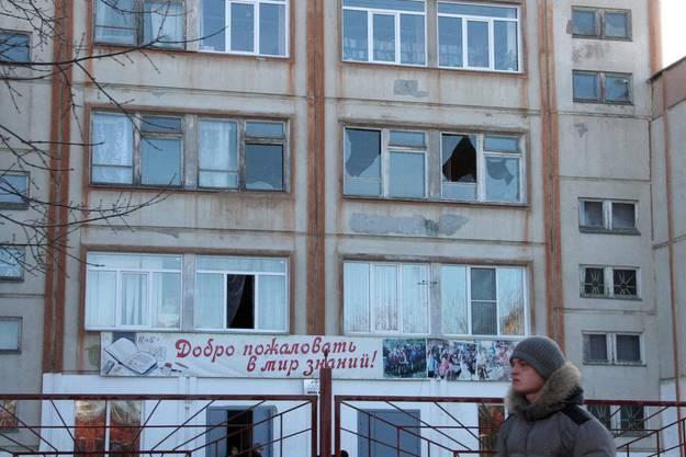 Die Schockwelle liess in Chelyabinsk bei zahlreichen Häusern die Scheiben bersten.