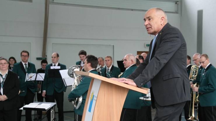 Gemeindepräsident Peter Weber an der Neujahrsfeier in Mettau.