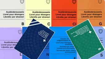 Bunt und mit Buchstaben versehen: Die Ausländerausweise in der Schweiz.