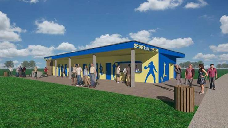 Die Visualisierung zeigt die geplante neue Sportstätte Birr.