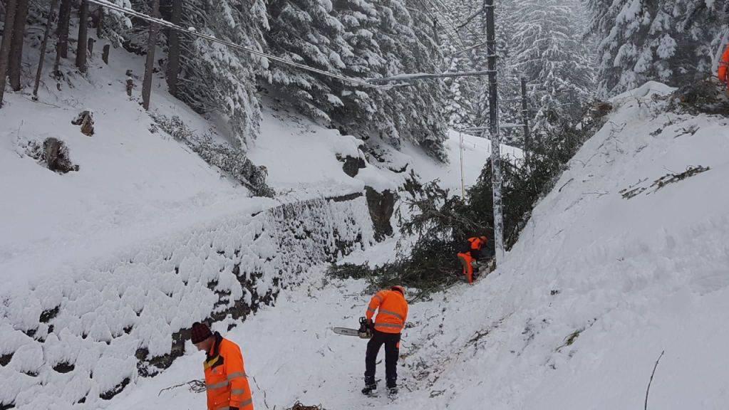 Bahnarbeiter sind nach dem Föhnsturm in der Jungfrauregion mit dem Aufräumen beschäftigt.