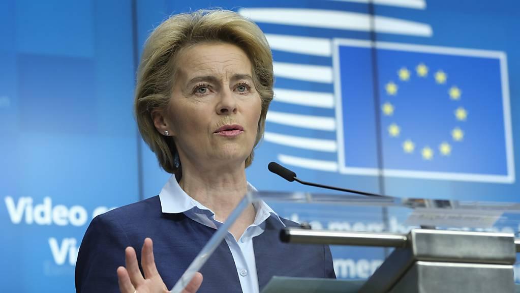 EU-Kommissionschefin Ursula von der Leyen hat US-Präsident Trump aufgefordert, den angekündigten Bruch mit der Weltgesundheitsorganisation WHO zu überdenken. (Archivbild)