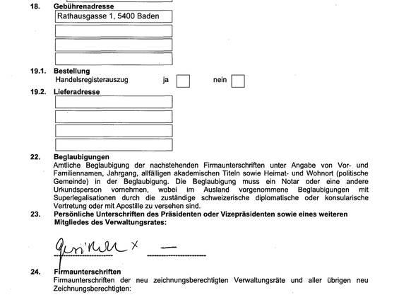 Das vierseitige Dokument (hier die letzte Seite) zeigt klar: Bei «Domizil neu» und «Gebührenadresse» wird die Rathausgasse 1 in Baden aufgeführt.