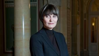 Bundespräsidentin Calmy-Rey nach dem Interview im Westflügel des Bundeshauses. Foto: Mathias Marx