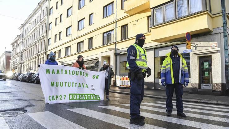 Nein, das sind keine protestierenden «Corona-Skeptiker»: Eine Kundgebung von Extinction Rebellion Finland am 18. November 2020 zum Thema Klimaschutz und EU-Landwirtschaftspolitik.