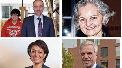 Herbert H. Scholl (FDP, unten rechts) und Renata Siegrist (GLP, oben rechts) treten nicht mehr an, Martin Bhend (FDP, oben links) und Helena Taiana (SP, unten links) hoffen auf eine Wahl.