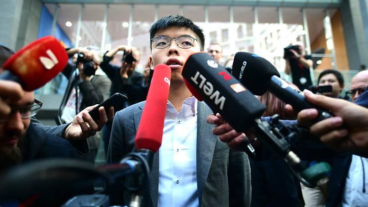 """""""Hongkong ist das neue Berlin in einem neuen Kalten Krieg"""", sagte Joshua Wong, ein führender Aktivist der Protestbewegung in Hongkong, vor den Medien in Berlin."""
