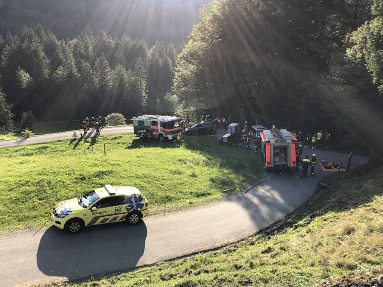 Die Unfallstelle in Kaltbrunn (Bild: Kapo SG)