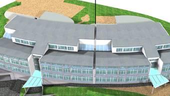 Die Erweiterung (rechts der Linie) soll direkt an das bestehende Schulhaus Späri (links) gebaut werden.