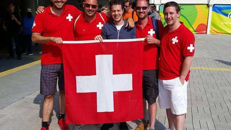 """Die Zuger """"Fechtheinis"""" mit Max Heinzers Bruder Michael in der Mitte. Von links: Simon, Tobias, Severin, Daniel."""