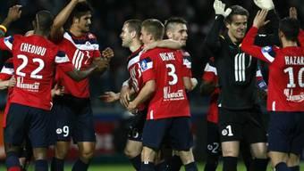 Lilles Spieler feiern Heimsieg gegen PSG