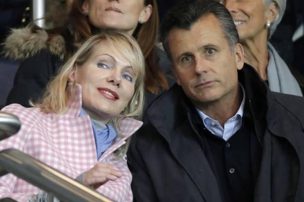 Philipp Hildebrand zusammen mit seiner Frau Margarita Louis Dreyfus an einem Fussballspiel zwischen Paris Saint Germain and Marseille im Jahr 2014. Louis Dreyfus war bis 2016 die Besitzerin des Clubs Olympique Marseille.