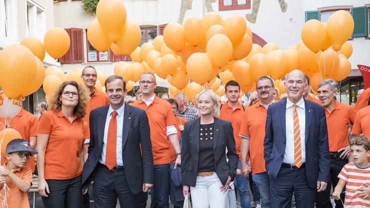 Parteipräsidentin Brigitte Müller-Kaderli, CVP-Präsident Gerhard Pfister, Nationalrätin Elisabeth Schneider-Schneiter und Baselbieter Regierungsrat Anton Lauber.
