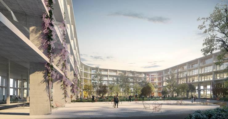 Die lichte Architektur bildet auf jeweils zwei Parzellen ein U, was zu einem grossen grünen Innenhof führen wird.