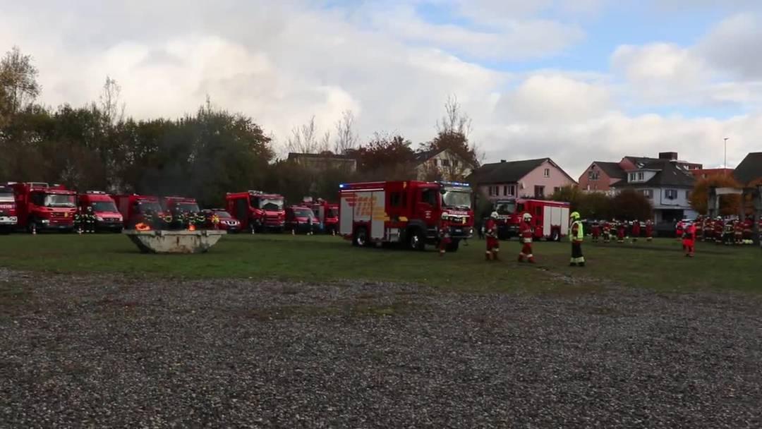 Feuerwehr-Hauptübung 2020 der Feuerwehr Kölliken mit dem nagelneuen Tanklöschfahrzeug.