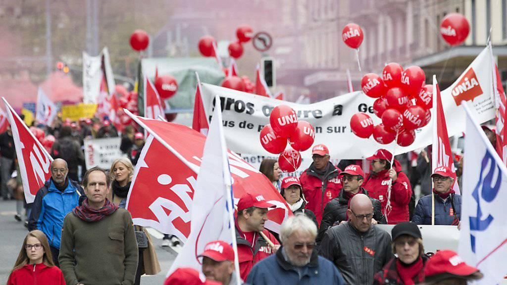 Die Arbeiterschaft feiert heute in zwanzig Kantonen den Tag der Arbeit. Geplant sind über fünfzig Anlässe. (Archivbild vom letzten Jahr)