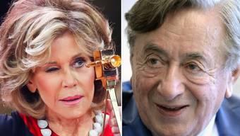 """Wird der Wiener Baulöwe """"Mörtel"""" Lugner (r) die zweifache Oscar-Preisträgerin Jane Fonda (l) zum Opernball bringen? Am Mittwoch kommt's aus. (Archivbilder)"""