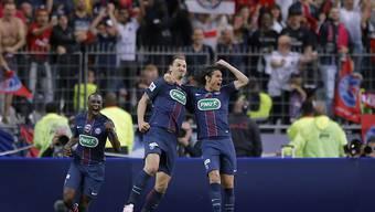 Zlatan Ibrahimovic freut sich mit Edinson Cavani