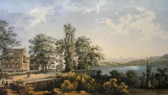 Die Kuranstalt Brestenberg und der Hallwilersee, dargestellt auf einer Farblithografie von 1865.