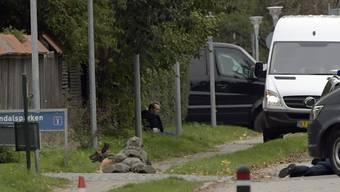 Der verurteilte Mörder Peter Madsen (hinten in der Mitte), belagert von Polizisten.