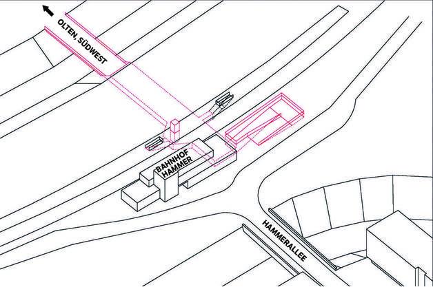 Variante 4: Der Verzicht auf den Anschluss Hammerallee erfüllt prinzipiell die Funktionalität. Anschluss garantiert eine Rampe beziehungsweise Treppenanlage (Neuheiten sind rot markiert).