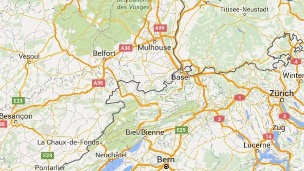 Der Flugzeugabsturz ereignete sich rund 60 Kilometer nordwestlich von Basel im Elsass. (Bild googlemaps)