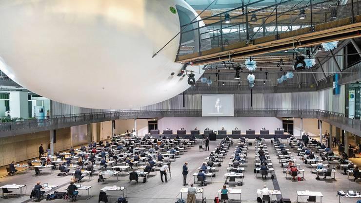Am 18. Oktober wird der Grosse Rat - hier bei einer Situng in der Umwelt Arena Spreitenbach - neu gewählt