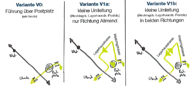 Diese drei Varianten für die Busführung rund um den Postplatz werden geprüft
